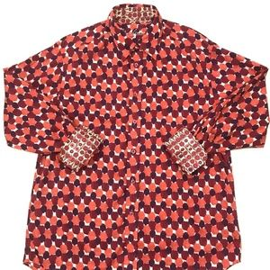 Robert Graham Dress Shirt Orange Purple Circles